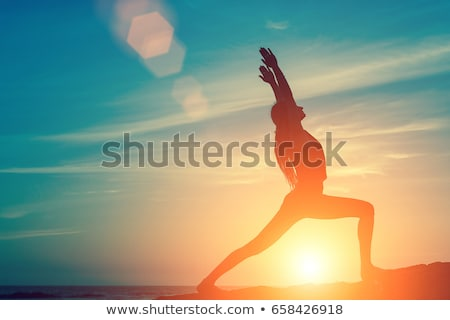 Pilates coucher du soleil illustration silhouette fille nature Photo stock © adrenalina