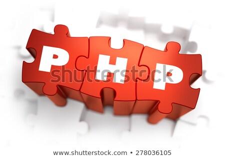 php   white word on red puzzles stock photo © tashatuvango