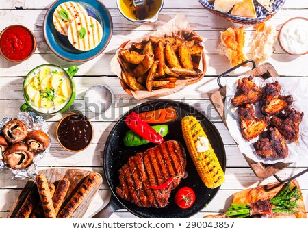 étel · szabadtér · barbecue · kész · grillezés · benzin - stock fotó © ozgur