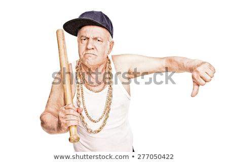 agresivo · hombre · bate · de · béisbol · blanco · cara · fondo - foto stock © elnur