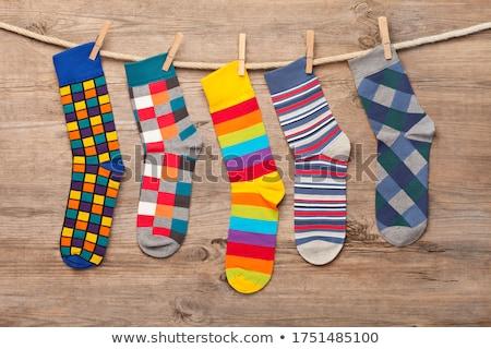 Gekleurd sokken arrangement katoen geïsoleerd witte Stockfoto © zhekos