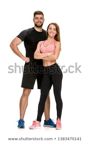 Stock fotó: Férfi · fehér · sportruha · izolált · fehér · férfi · papír