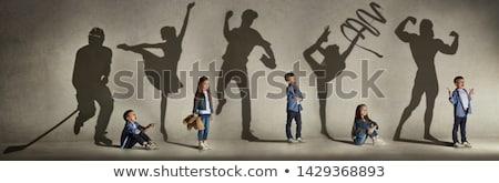 Gyermekkor illusztráció naplemente természet gyermek sziluett Stock fotó © adrenalina