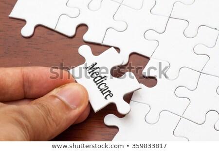 proteção · quebra-cabeça · lugar · desaparecido · peças · texto - foto stock © tashatuvango