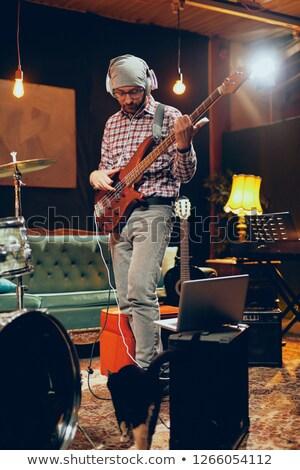 kő · gitáros · koncert · zene · előadó · színpad - stock fotó © clipartmascots