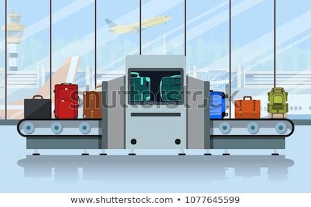 Bagaż kontroli lotniska ilustracja człowiek samolot Zdjęcia stock © adrenalina