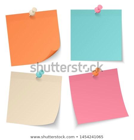 Narancs jegyzet rajzszeg izolált fehér iroda Stock fotó © vapi