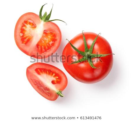 Rebanadas tomates cherry blanco alimentos jardín Foto stock © art9858