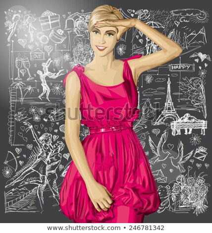 sketch surprised woman in dress against love story background stock photo © leedsn