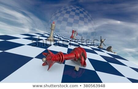 Rodziny dramat szachy metafora podziale czerwony Zdjęcia stock © grechka333