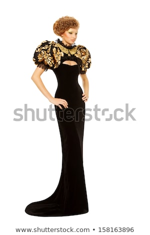 blond hair girl in black evening dress isolated on white stock photo © elnur