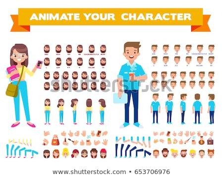 Stock fotó: Diák · rajzfilmfigura · illusztráció · könyv · mosoly · oktatás