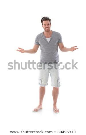 человека · оружия · широкий · открытых · трава · счастливым - Сток-фото © zurijeta