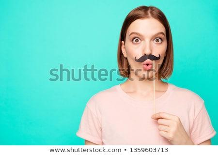 Boldog hipszter visel hamisítvány bajusz ujj Stock fotó © wavebreak_media