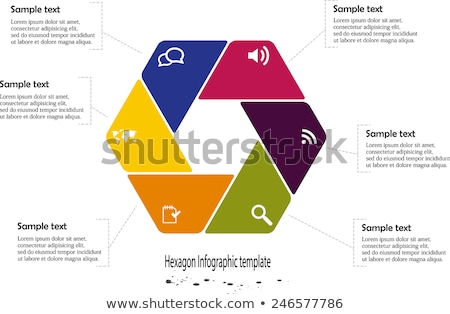 Blue hexagon business brochure with scribbled map Stock photo © vipervxw