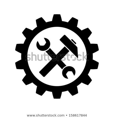 hammer and gear wheel - industrial icon Stock photo © djdarkflower