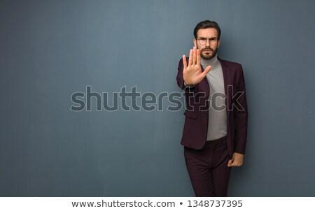 adam · gömlek · durdurmak · ciddi · genç - stok fotoğraf © deandrobot
