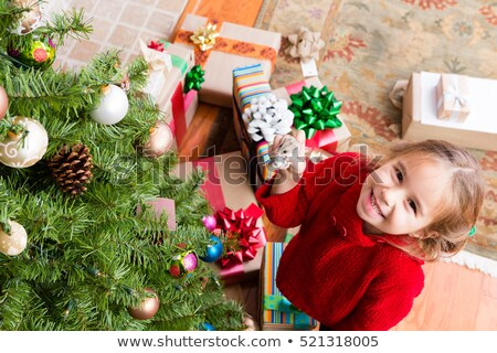 elragadtatott · boldog · lány · karácsony · ajándék · meglepődött · lány - stock fotó © ozgur