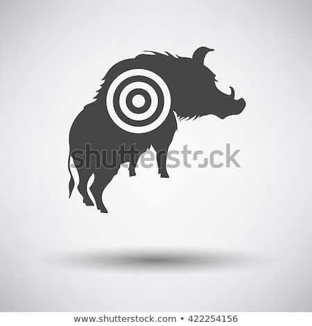 boar silhouette with target icon stock photo © angelp