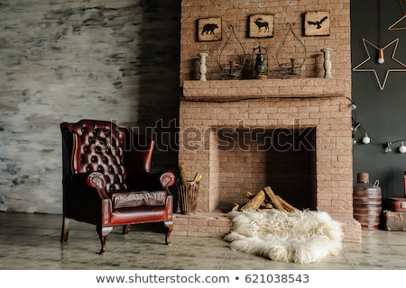 Szoba kandalló klasszikus bútor illusztráció óra Stock fotó © bluering