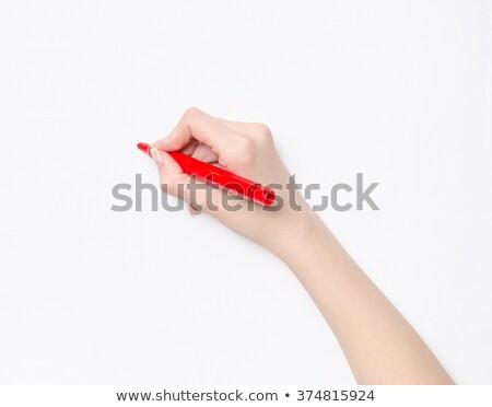 Stockfoto: Vrouwelijke · hand · schrijven · Rood · fiche · pen