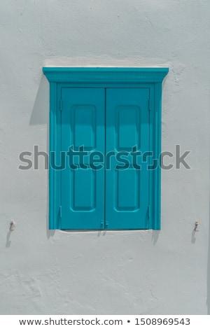 Stockfoto: Blauw · houten · venster · oude · steen