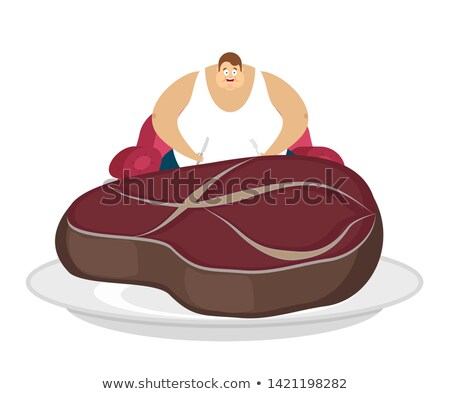 Fat guy and steak. Glutton Thick man and piece of meat. fatso ve Stock photo © popaukropa