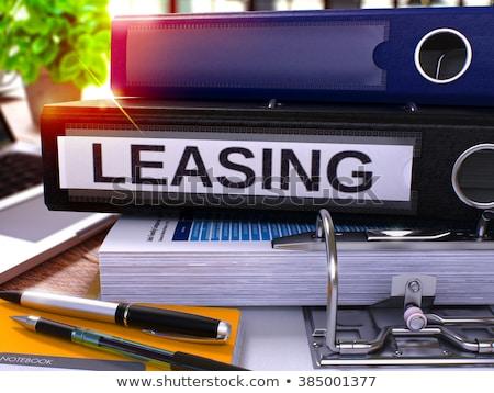 Czarny biuro folderze napis leasing pulpit Zdjęcia stock © tashatuvango
