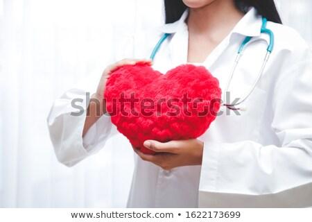 grande · rojo · corazón · aislado · blanco · amor - foto stock © rastudio
