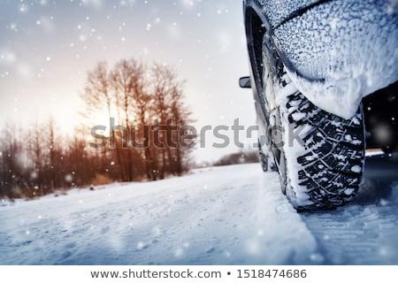 Winter band weg sneeuwstorm vier auto Stockfoto © ssuaphoto