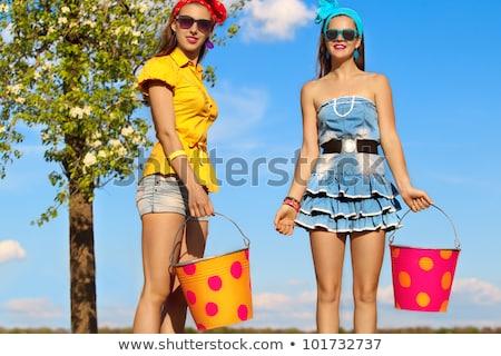 Vrouw spade tuin bloem zomer Stockfoto © IS2