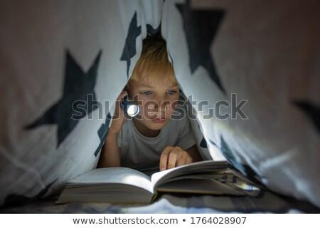 gyerekek · ül · sátor · táborhely · lány · gyermek - stock fotó © is2
