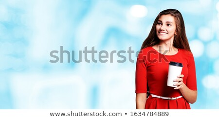 Picture of beautiful woman in black dress with coffe in hands Stock photo © Traimak