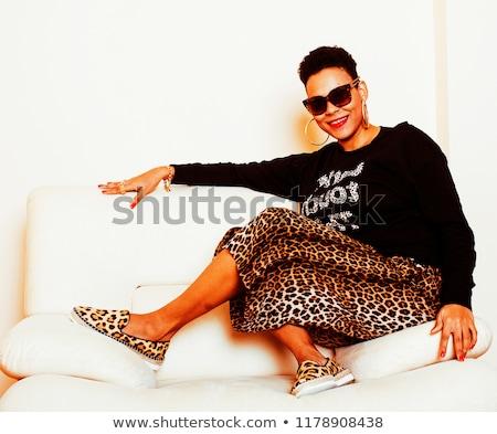 aantrekkelijk · te · zwaar · vrouw · zonnebril · portret · plus · size - stockfoto © iordani
