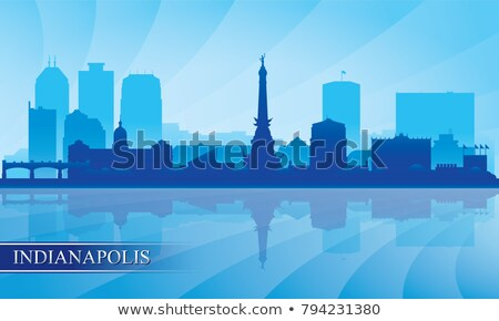 Indianapolis city silhouette on sunset background Stock photo © Ray_of_Light