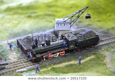 oude · locomotief · spoorweg · landelijk · veld · dramatisch - stockfoto © compuinfoto