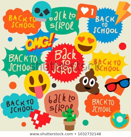 Back to school speech bubbles stickers, emoji smile faces Stock photo © ikopylov