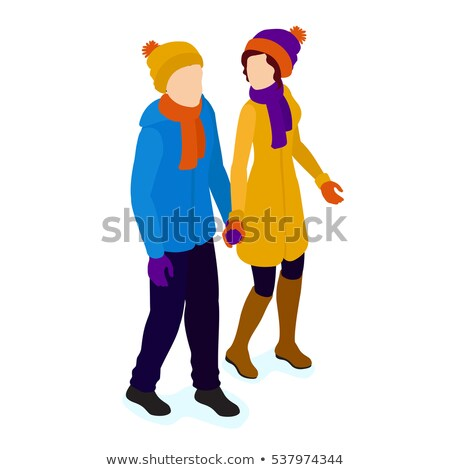 boys walking with xmas presents in snow stock photo © is2