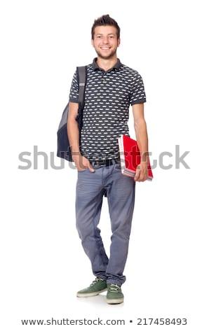 Divertente nerd studente isolato bianco sorriso Foto d'archivio © Elnur