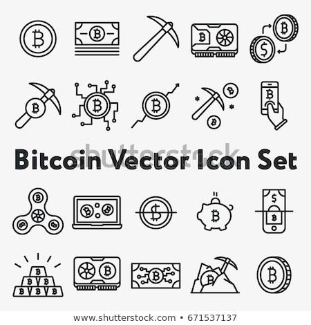 vektor · vonal · ikonok · vékony · skicc · bitcoin - stock fotó © genestro