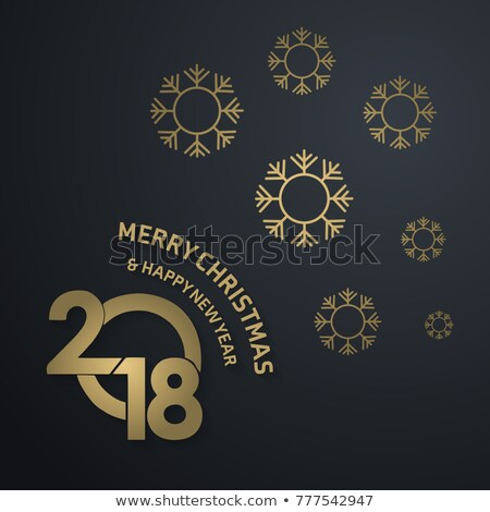2018 new year party celebration poster illustration with typography design and firework on shiny col stock photo © articular