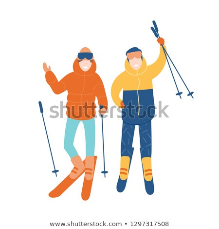Boy holding skis Stock photo © IS2