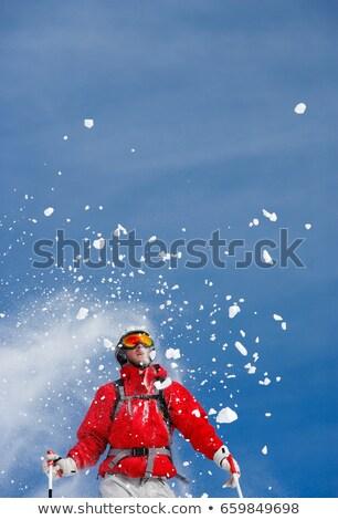 Kar erkek kayakçı mavi kayakçılık hareket Stok fotoğraf © IS2