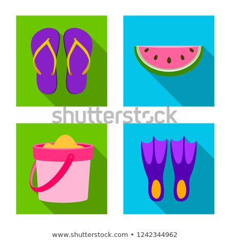swimming flippers on the sand vector stock photo © m_pavlov
