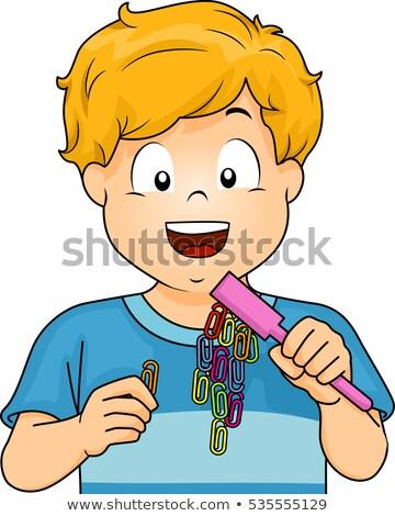 Kid garçon magnétique illustration peu science Photo stock © lenm