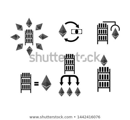 Wymiany zestaw ikona wydobycie gospodarstwa komputera Zdjęcia stock © popaukropa