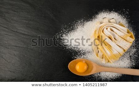 Taze yumurta makarna tagliatelle yuva ahşap Stok fotoğraf © Melnyk