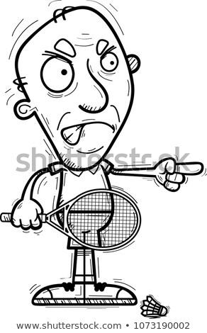 Mérges rajz idős tollaslabda játékos illusztráció Stock fotó © cthoman
