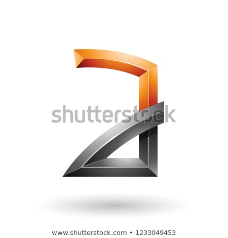 Orange and Black Embossed Letter A with Bended Joints Vector Ill Stock photo © cidepix