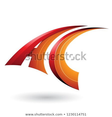 Kırmızı turuncu dinamik uçan c harfi vektör Stok fotoğraf © cidepix